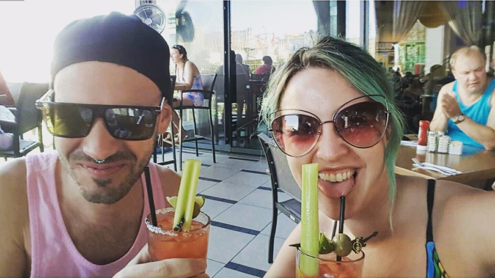Drinking bloody marys in Hard Rock Cafe