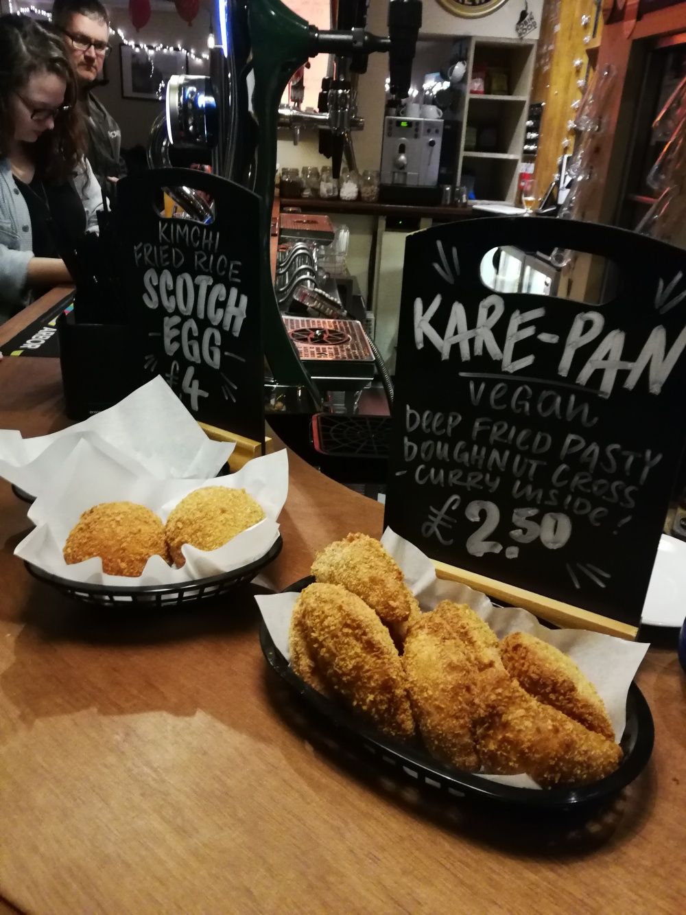 Bar snacks - kimchi scotch eggs and kare-pan