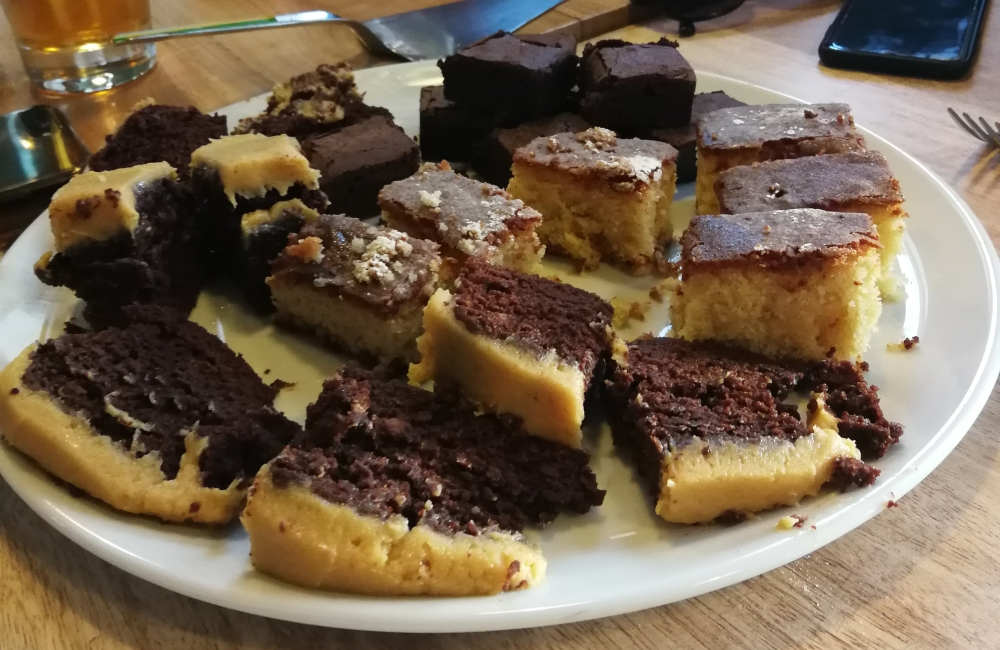 Small slices of various cakes