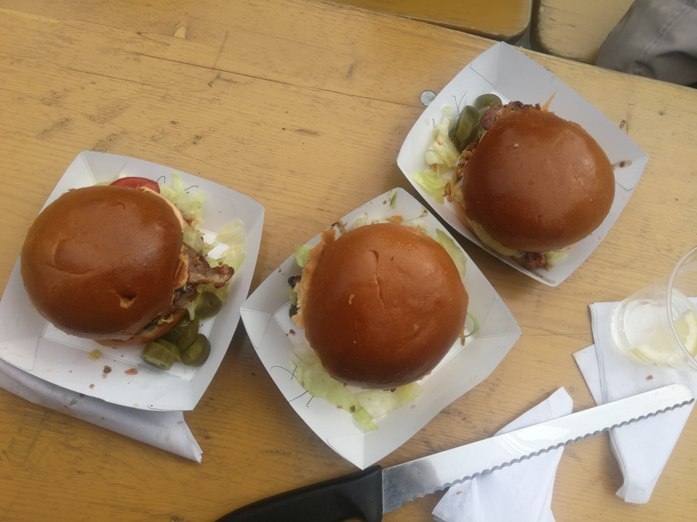 Three burgers taken from above