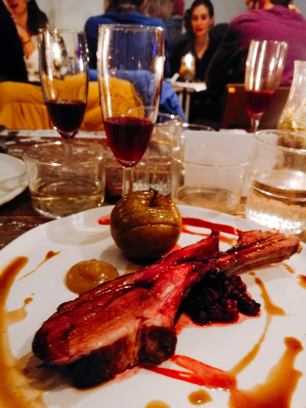 Wild Boar with russet apple. Blackberry vermouth shown in background