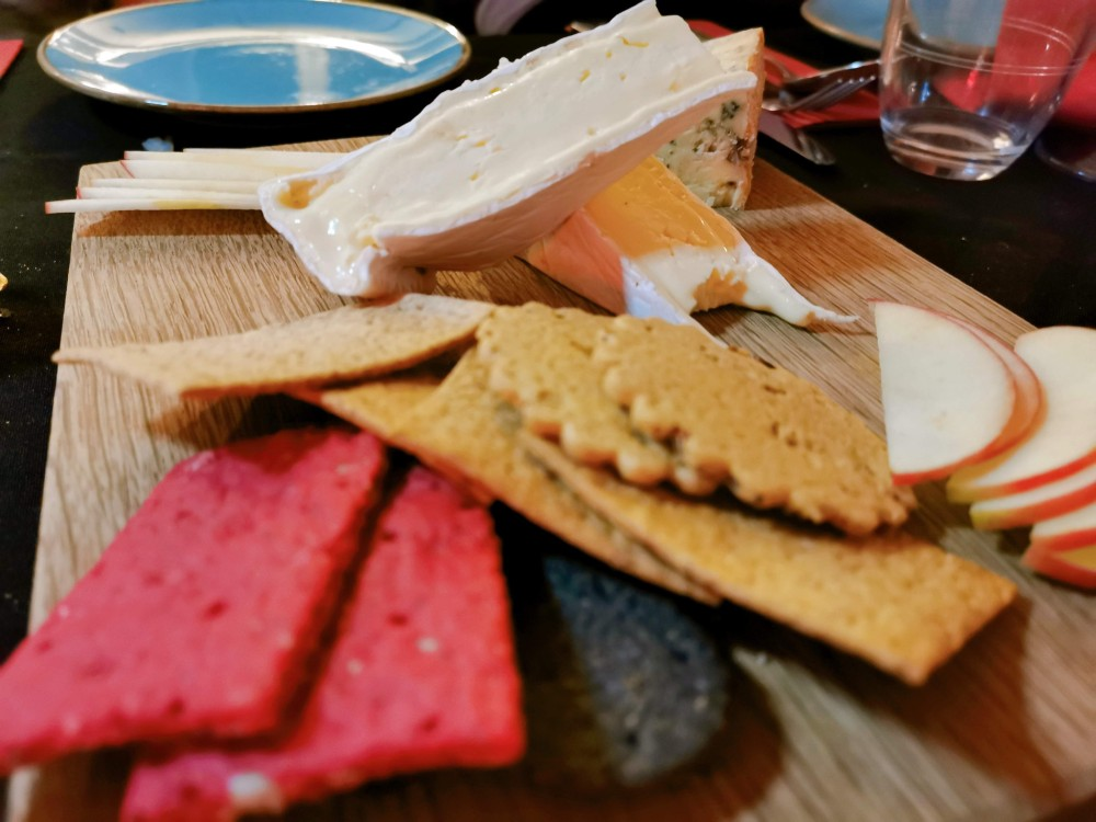 Close up of crackers and cheese