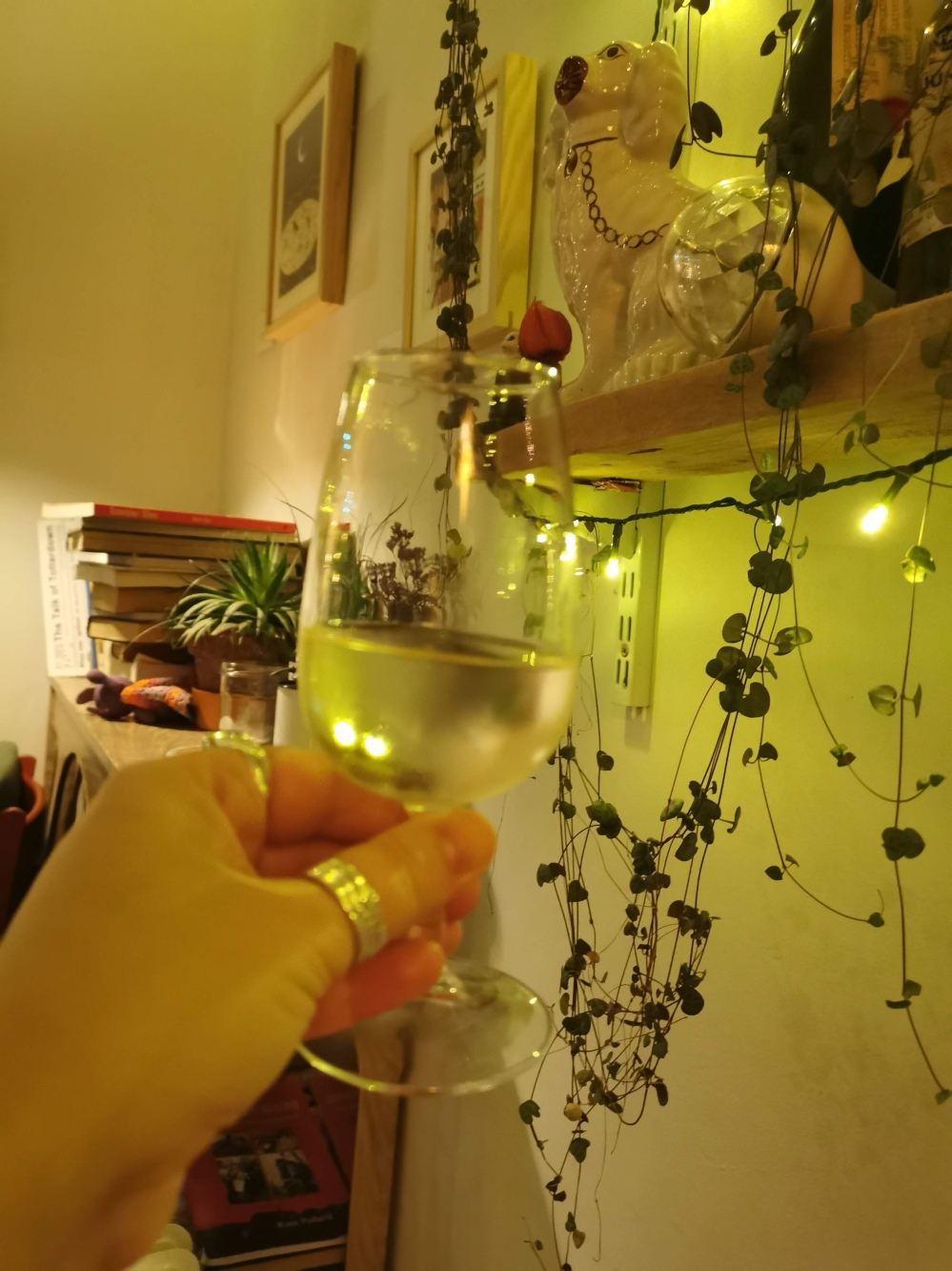 Holding up a glass with background
